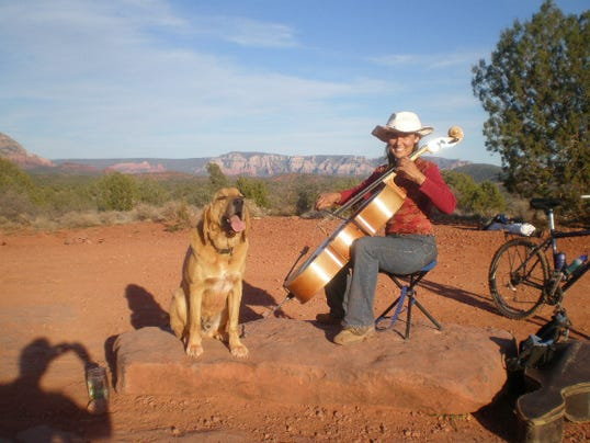 Kyra Kopestonsky and her dog