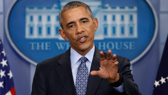 In this photo taken Jan. 18, 2017, President Barack Obama speaks during his final presidential news conference, in the briefing room of the White House in Washington. The former president and Michelle Obama announced Friday, Feb. 10, 2017, they have picked The Harry Walker Agency to handle their post-White House speaking gigs.