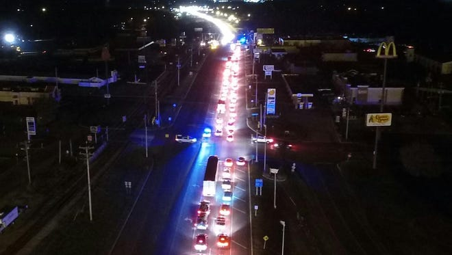 An aerial view of backed up traffic Tuesday night on Highway 46 South in Dickson.