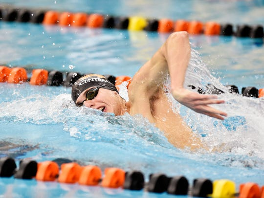 Central York's Alec Peckmann swims the boys' 200-yard freestyle in a YAIAA dual swim meet Thursday, Feb. 1, 2018, at Central York. Central York swept Red Lion to win the meet, with the girls winning 41-19 and the boys winning 40-22. Peckmann won the event.