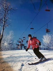 In this photo from the 1990s, Jane Herte skis at Little