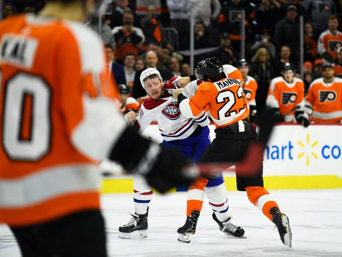 Canadiens' Nicolas Deslauriers (20) squares off with