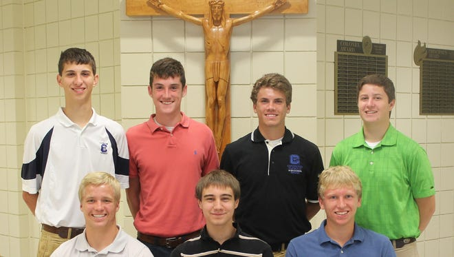 Covington Catholic's National Merit Scholarship semifinalists include, front row from left, Lucas Timmerman, Peter Schaefer, Mitchell MacKnight, and, back row, Adam Flynn, Sean (Chris) Fagin, Benjamin Darpel and Logan Boyle.