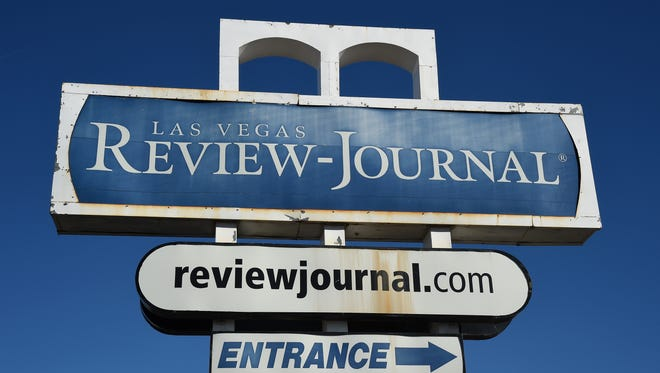 An exterior view shows the entrance to the Las Vegas Review-Journal newspaper.