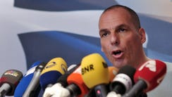 Greece Finance Minister Yanis Varoufakis speaks at