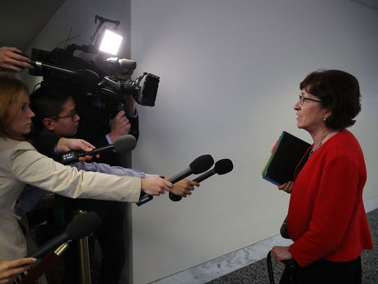 Sen. Susan Collins speaks to the media on Capitol Hill