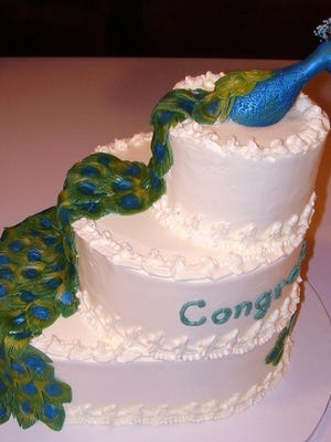 A peacock cake Lois Sietman created for the bridal shower of a friend's daughter. (photo courtesy Lois Sietman)