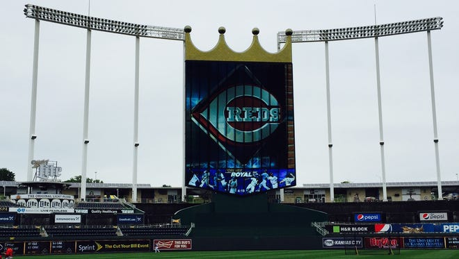Kauffman Stadium in Kansas City before Tuesday's Reds-Royals game.