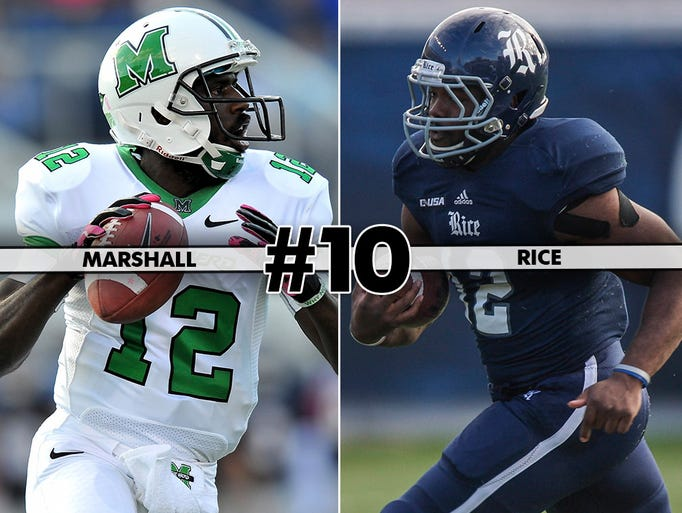 Marshall (9-3, 7-1) at Rice (9-3, 7-1), 12 p.m. ET, ESPN2: Both teams make their first appearance in the Conference USA title game. Marshall's three losses have come by a total of 13 points.