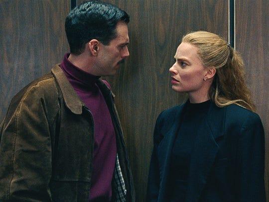 """In """"I, Tonya,"""" Jeff Gillooly (Sebastian Stan) and Tonya"""