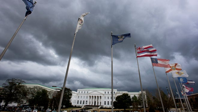 Storm clouds roll in over the state archives building in Montgomery, Ala. on Tuesday afternoon February 23, 2016.