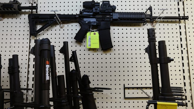 On display at a gun shop in Wendell, N.C., an AR-15 assault rifle manufactured by Core15 Rifle Systems in December 18, 2012. (Chuck Liddy/Raleigh News & Observer/TNS)