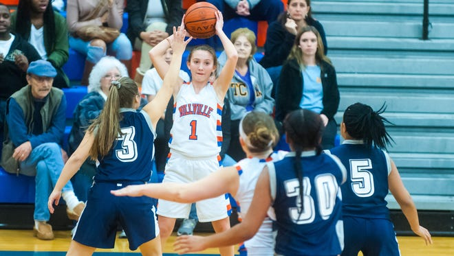 Millville guard Morgan Giordano (1) looks for an outlet against Atlantic City at Millville Senior High School on Monday, February 6.