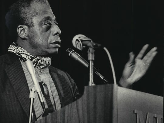 Author James Baldwin speaks at Marquette University's