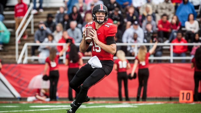 Riley Neal looks to pass in Ball State's 23-21 loss to Central Michigan on Saturday afternoon.