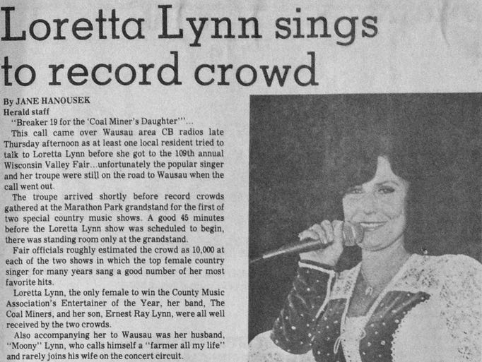 Loretta Lynn sang to a record crowd of more than 10,000 people at each of her two Thursday shows. See all of these photos uncropped and more from our archives at http://fromourarchives.tumblr.com.