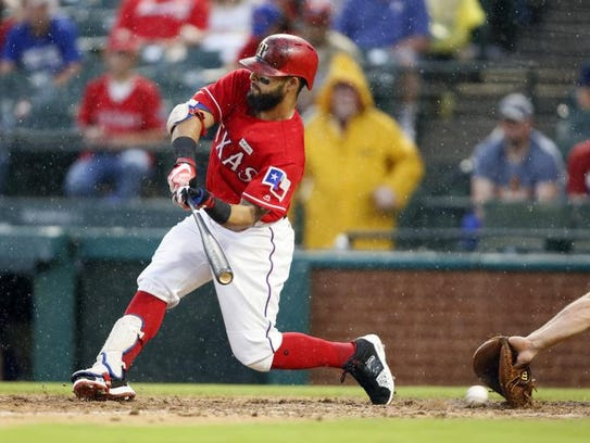 Texas Rangers second baseman Rougned Odor (12) strikes