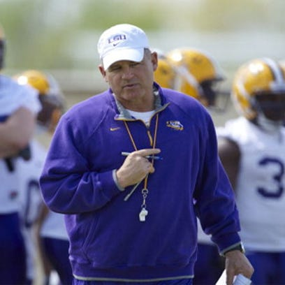 Les Miles at spring practice in previous years.