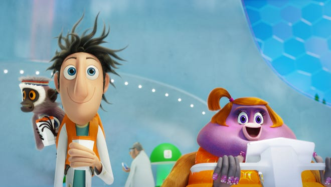 """Steve (Neil Patrick Harris), the monkey of Flint (Bill Hader), stars in an animated short on the upcoming """"Cloudy with a Chance of Meatballs 2"""" Blu-ray."""