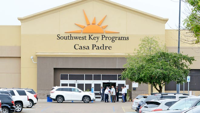 In this June 18 file photo, dignitaries take a tour of Southwest Key Programs Casa Padre, a U.S. immigration facility in Brownsville, Texas, where children who have been separated from their families are detained.