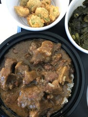 Oxtails, fried okra and collard greens from Soul Bowl