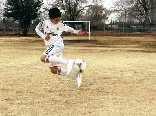 Simon Segal stars in a video inspired by soccer superstar Cristiano Ronaldo. The video has scored more than 1.5 million hits on YouTube. The video was made in Las Cruces by Simon's uncle, Jared Sagal.