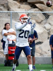 UTEP defensive back Nik Needham goes up for a pass during drills Tuesday morning at Glory Field as the team prepares for the season opener Saturday night against the NMSU Aggies.