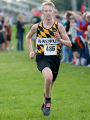 Waupun's Kyle Miller runs at a cross country invite at Laconia High School in Rosendale Tuesday October 4, 2016. Doug Raflik/USA TODAY NETWORK-Wisconsin