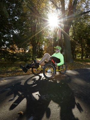 Bruce Fryda of Fond du Lac rides on the new portion of the Fond du Lac Loop in Lakeside Park Tuesday October 18, 2016 before a ceremony to reveal the new segment. Construction to build this segment along the lakefront started mid-September and is part of future plans to make Lakeside Park a modern destination for both locals and visitors. Doug Raflik/USA TODAY NETWORK-Wisconsin