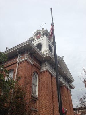 The Adams County Courthouse clock tower.