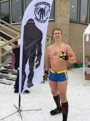 David Hart, a 25-year-old welder from Pewaukee, completed the Abominable Snow Race in Geneva three times wearing nothing but shorts, socks and shoes.