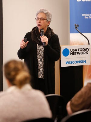 Fond du Lac area Yscreen Clinician Sharon Stoffel talks about suicide prevention at a USA TODAY NETWORK-Wisconsin town hall meeting at the Fond du Lac Public Library Feb. 28.