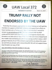 An anti-trump flier distributed at UAW Local 372 on
