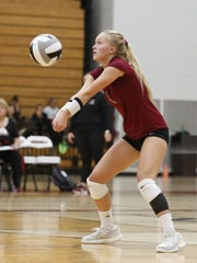 Fond du Lac High School varsity volleyball's Maggie Stelmacher hits the ball against Denmark during their game at the Fond du lac Girls Volleyball Invite Saturday September 9, 2017. Doug Raflik/USA TODAY NETWORK-Wisconsin