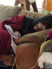 Amy Boozell of Boone falls asleep holding her highlighter