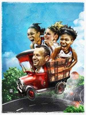 Illustration of Louisville's coach Jeff Walz driving the bandwagon, with players Asia Durr, Sam Fuehring and Myisha Hines-Allen, on the road to the Final Four in Columbus, Ohio.