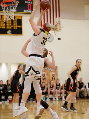 Waupun's Sydney Flier attempts a shot against Plymouth during a Jan. 18 game.