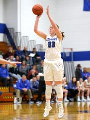 St. Mary's Springs Academy's Emily Mueller hits a 3-pointer during a WIAA regional semifinal against Waterloo.