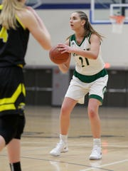 Laconia's Alissa Dins has committed to Division I Western Illinois for basketball.