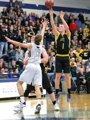 Waupun High School boys basketball's Marcus Domask shoots a shot against Kettle Moraine Lutheran Saturday March 10, 2018 at the WIAA Division 3 sectional finals game in Whitefish Bay. KML won the game 53-48. Doug Raflik/USA TODAY NETWORK-Wisconsin
