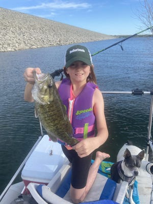 Memphis Meyers, 9, of Deerfield, caught this 17-inch smallmouth bass on live bait while fishing May 22 at Cedar Bluff Reservoir. To submit your photo to run in The Topeka Capital-Journal, email it to jrouse@cjonline.com with the subject's name, city of residence and any background info you want to include. View more photos at CJOnline.com or Facebook.com/TCJOutdoors.