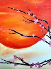 """Learn how to paint """"Mandarin Sunset"""" at two Pinot's Palette parties."""