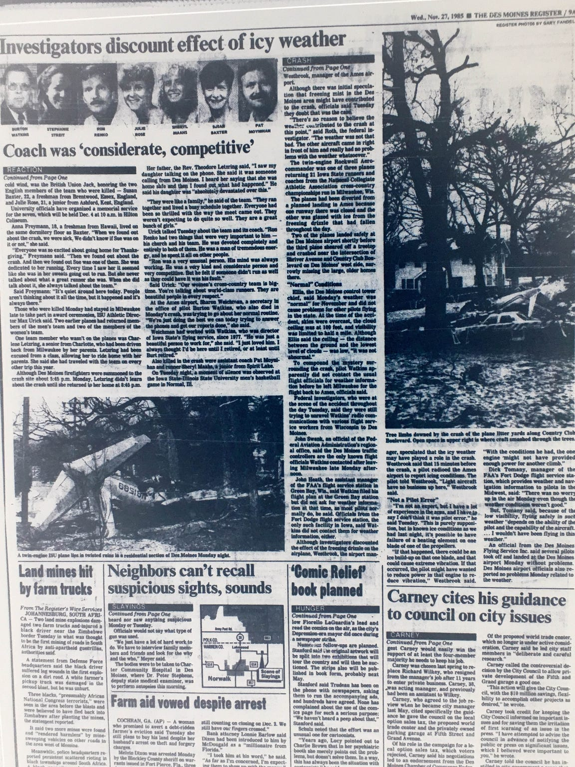 The Des Moines Register on Nov. 27, 1985, reported on the crash of a small plane carrying members of the Iowa State University women's cross country team.