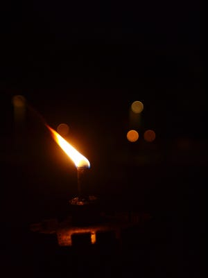 The candlelight in the dark