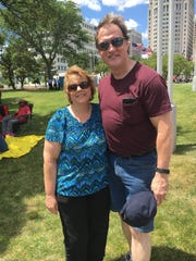 Lori and Paul Thomas, of Imlay City, take in their first Detroit fireworks festival on Monday, June 27.