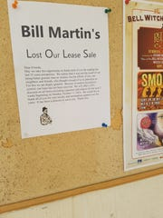 A sign that was posted inside of Bill Martin Foods