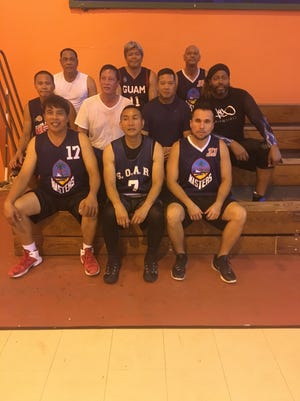 GMBA will be sending four men's teams to participate in the World Masters Games (WMG) from April 21 to 30 in New Zealand. Pictured are two of the teams, representing the 40-50 age groups. Pictured from left, front row: Pompei Valerio, Jose Marquez and Ken Gutierrez. Pictured from left, second row: Alan Calanda, Mark Nanpei, Diron Cruz and Kelvin Brantley. Pictured from left, back row: Ramon Collera, Dave Benavente and Ben Leon Guerrero.