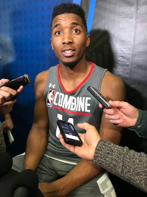 Donovan Mitchell speaks to reporters at the NBA combine on Thursday, May 11, 2017.