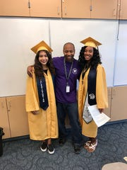 Desert Springs Middle School math teacher Marvin Coleman (center) is thanked for his influence by graduating seniors Betsy Sanchez Briones and Laurice Brown.