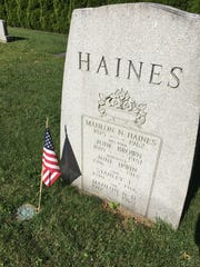 The Haines family tombstone is one of the largest in the cemetery of the Longstown United Methodist Church. Mahlon Haines was a member of the church.